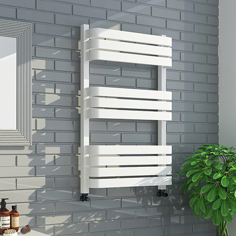 Venice White 800 x 500 Designer D-Shaped Heated Towel Rail