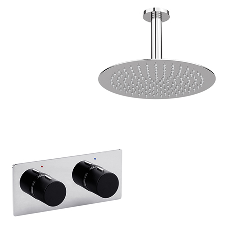 Venice Round Chrome / Matt Black Shower System with Concealed Valve + Ceiling Mounted Head