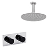 Venice Round Chrome / Matt Black Shower System with Concealed Valve + Ceiling Mounted Head profile small image view 1