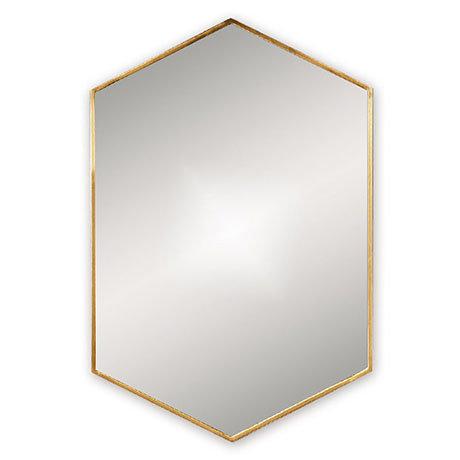 Venice Brushed Brass 500 x 750mm Hexagonal Mirror