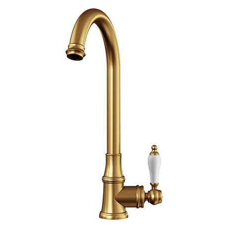 Venice Traditional Kitchen Mixer Tap with Swivel Spout - Brushed Gold