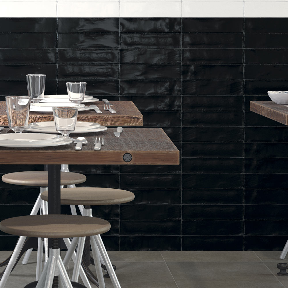 Vernon Rustic Black Gloss Ceramic Wall Tiles 75 x 300mm  Feature Large Image