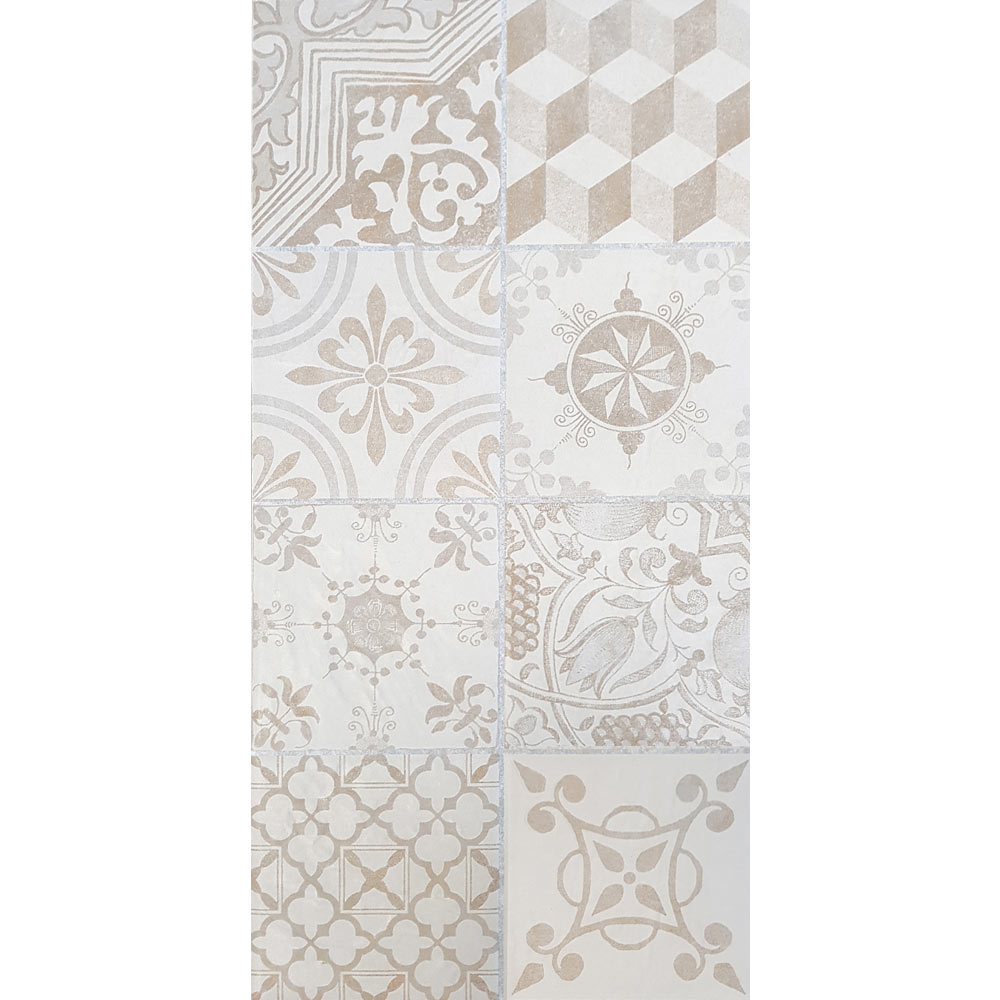 Verona Beige Encaustic Effect Wall and Floor Tiles - 255 x 510mm  Feature Large Image