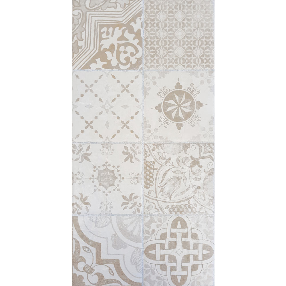 Verona Beige Encaustic Effect Wall and Floor Tiles - 255 x 510mm  Standard Large Image