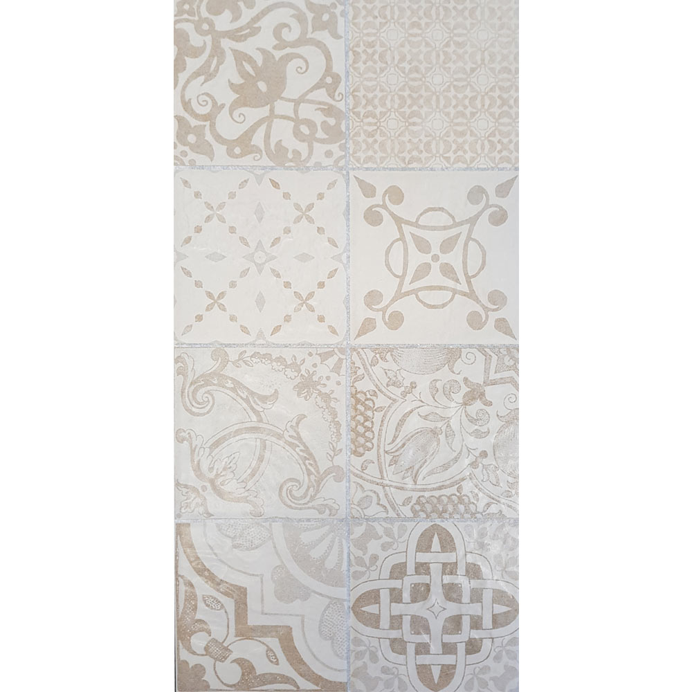 Verona Beige Encaustic Effect Wall and Floor Tiles - 255 x 510mm  In Bathroom Large Image