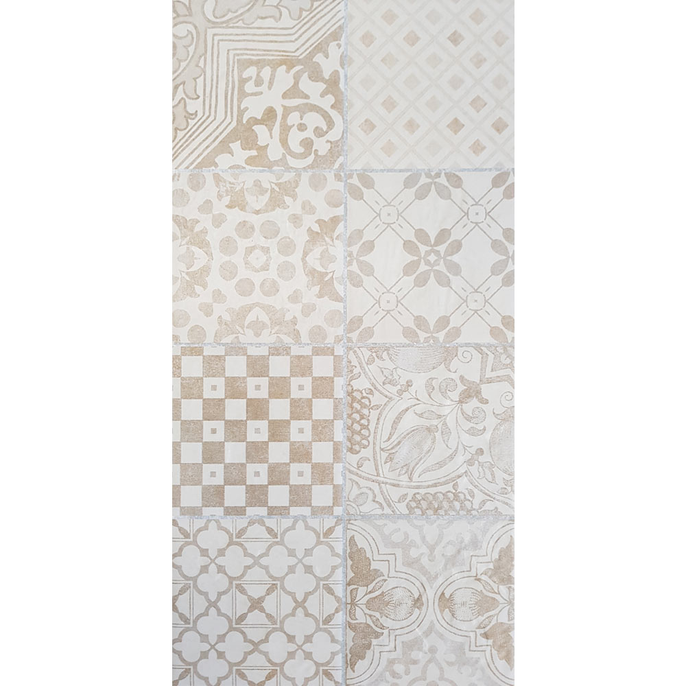 Verona Beige Encaustic Effect Wall and Floor Tiles - 255 x 510mm  additional Large Image
