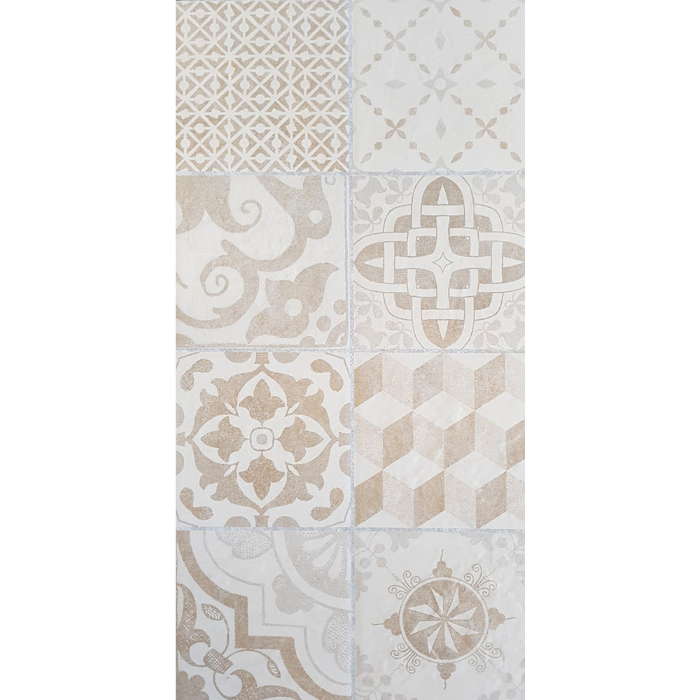 Verona Beige Encaustic Effect Wall and Floor Tiles - 255 x 510mm  Newest Large Image