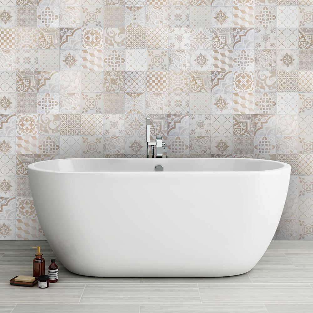 Verona Beige Encaustic Effect Wall and Floor Tiles - 255 x 510mm Large Image