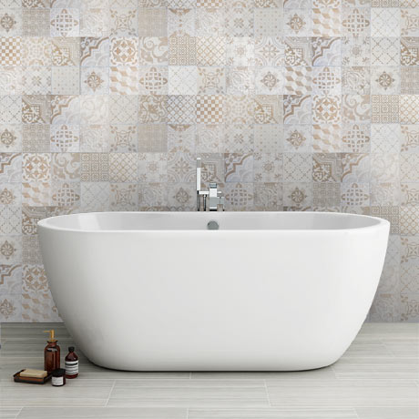Verona Beige Encaustic Effect Wall and Floor Tiles - 255 x 510mm