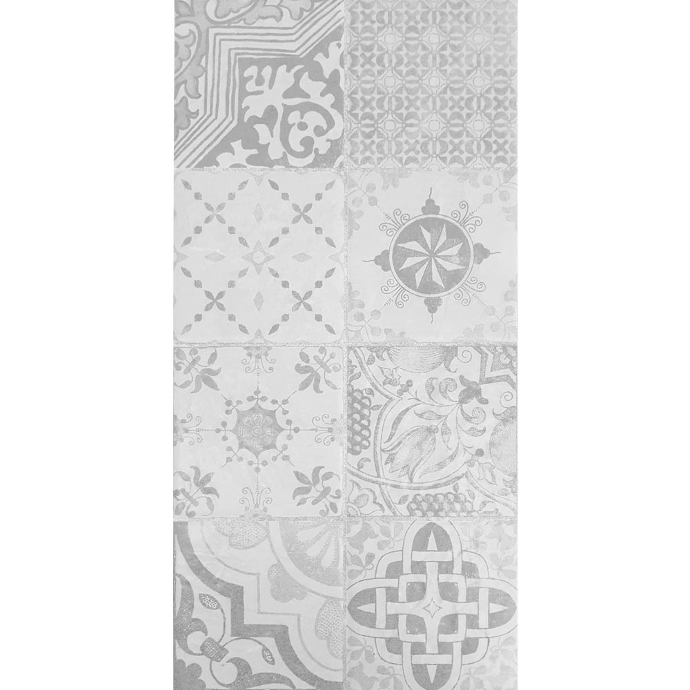 Verona Grey Encaustic Effect Wall and Floor Tiles - 255 x 510mm  Feature Large Image