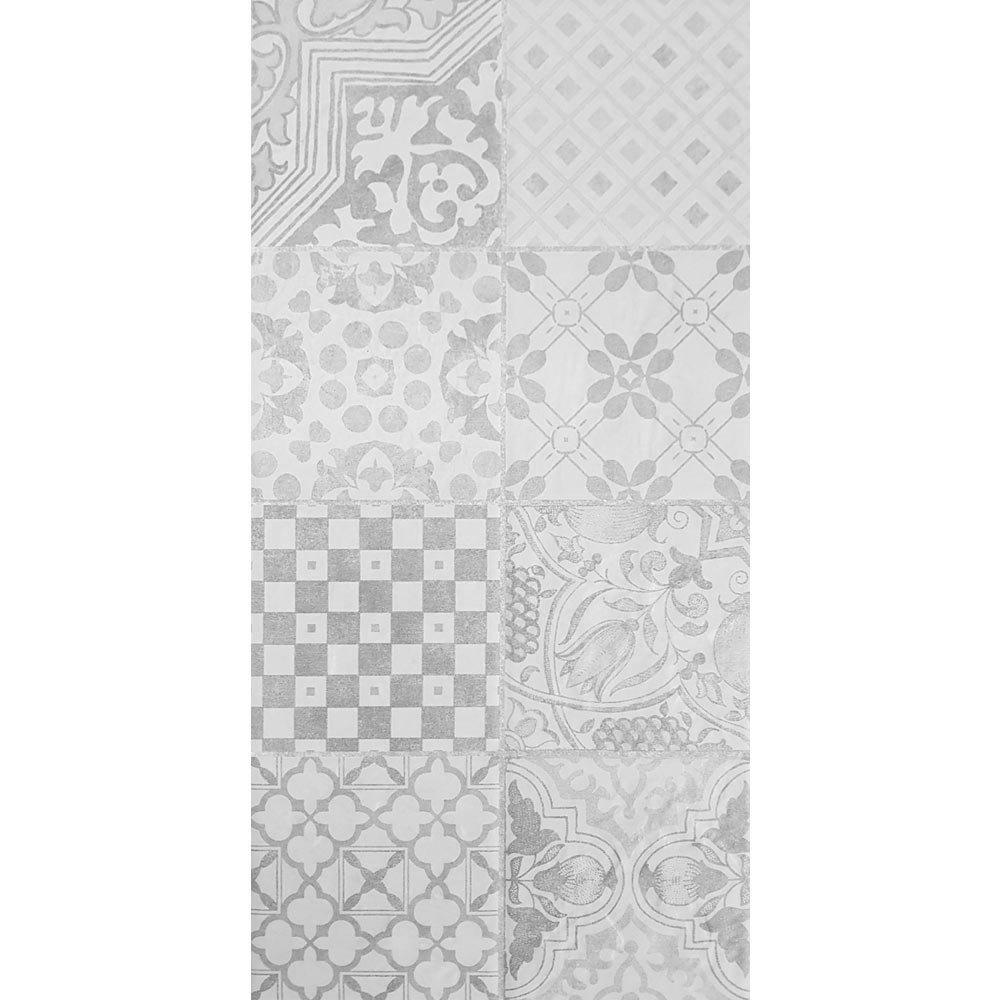 Verona Grey Encaustic Effect Wall and Floor Tiles - 255 x 510mm  In Bathroom Large Image