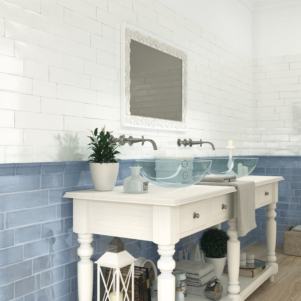 Vernon Rustic French Blue Gloss Ceramic Wall Tiles 75 x 150mm  Profile Large Image