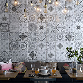 Verini Matt Grey Encaustic Effect Wall and Floor Tiles - 200 x 200mm
