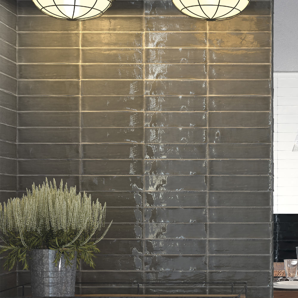 Vernon Rustic Graphite Gloss Ceramic Wall Tiles 75 x 300mm  Feature Large Image