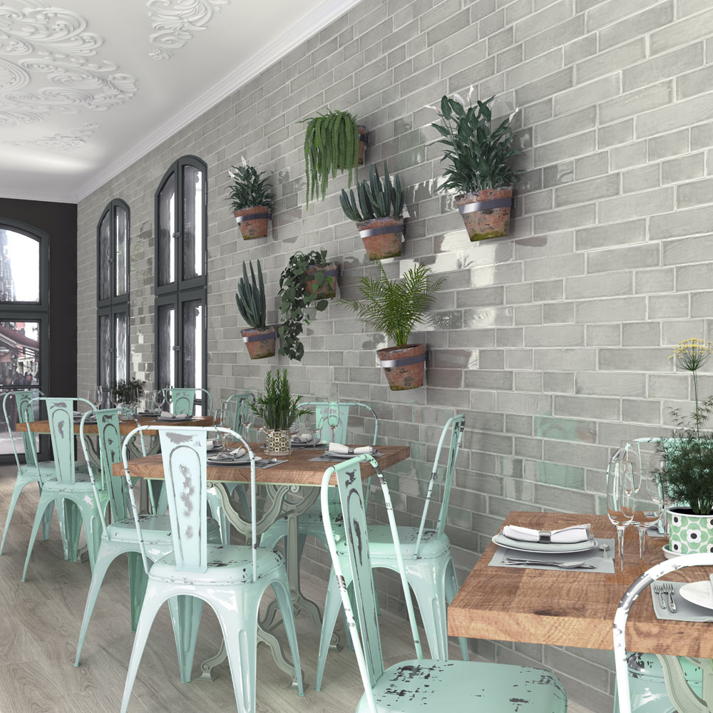 Vernon Rustic Grey Gloss Ceramic Wall Tiles 75 x 150mm  Standard Large Image