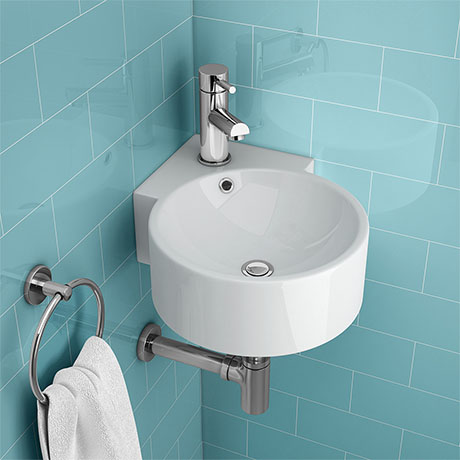 Othello Round Wall Hung Corner Basin 1TH - 310 x 440mm