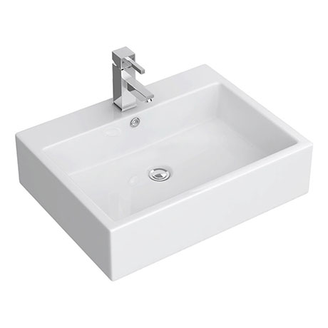 Kyoto Large Rectangular 600 x 460mm 1TH Wall Hung Basin
