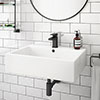 Kyoto Large Rectangular 600 x 460mm 1TH Wall Hung Basin profile small image view 1