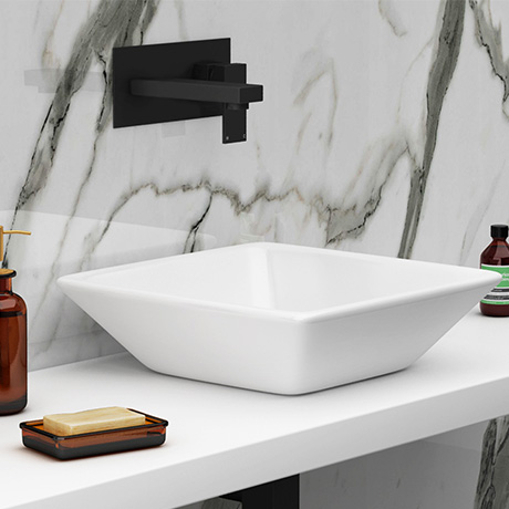 Arezzo Square Black Wall Mounted Basin Tap + 410 x 410mm Counter Top Basin