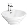 Salerno Round Counter Top Basin - 1 Tap Hole - 480mm profile small image view 1