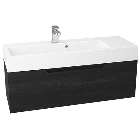 Vision 1000 x 355mm Black Wood Wall Mounted Sink Vanity Unit