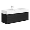 Vision 1000 x 355mm Black Wood Wall Mounted Sink Vanity Unit profile small image view 1