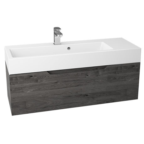 Vision 1000 x 355mm Grey Oak Wall Mounted Sink Vanity Unit