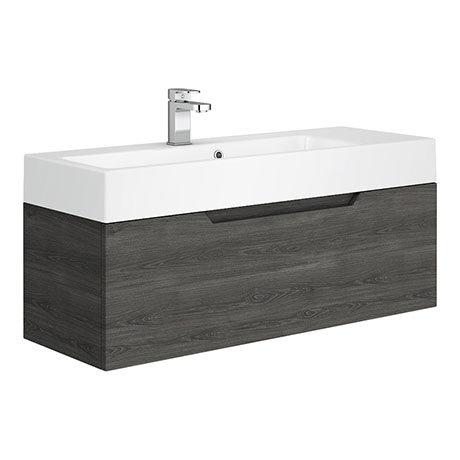 Vision 1000 x 355mm Grey Oak Wall Mounted Sink Vanity Unit