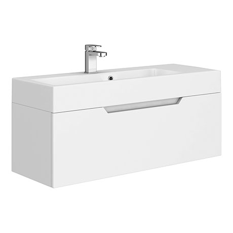 Vision 1000 x 355mm Gloss White Wall Mounted Sink Vanity Unit