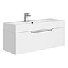 Vision 1000 x 355mm Gloss White Wall Mounted Sink Vanity Unit profile small image view 1
