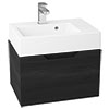 Vision 500 x 355mm Black Wood Wall Mounted Sink Vanity Unit profile small image view 1