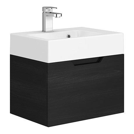Vision 500 x 355mm Black Wood Wall Mounted Sink Vanity Unit