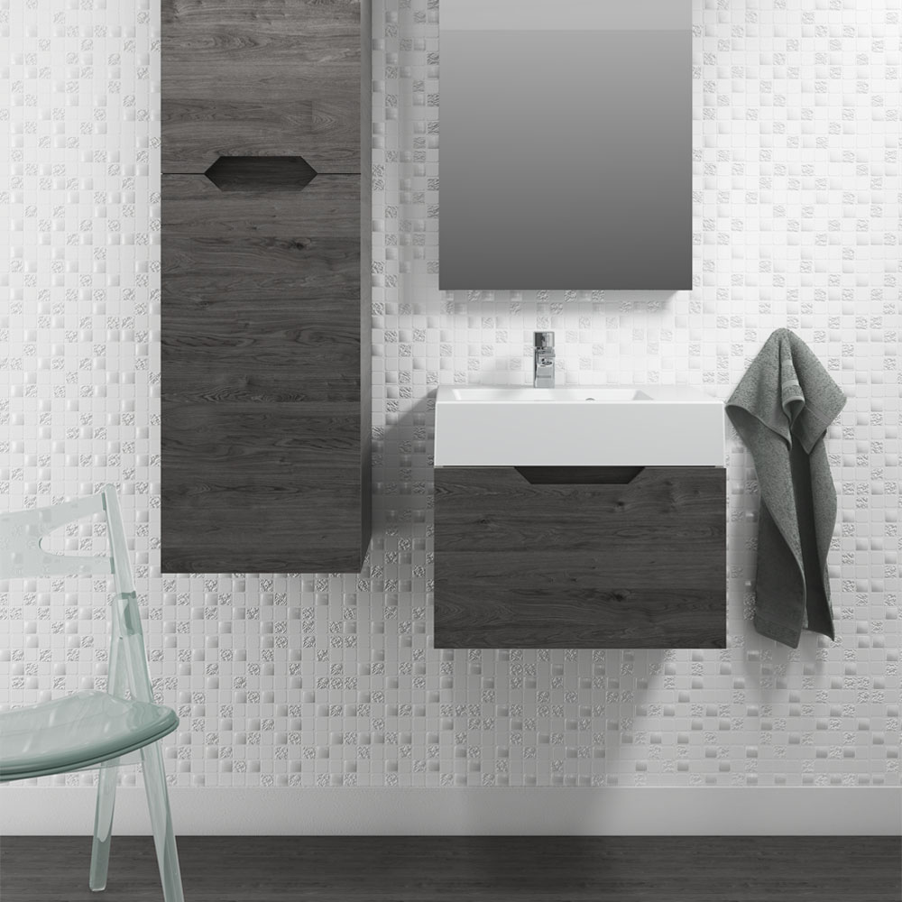 Vision 500 x 355mm Grey Oak Wall Mounted Sink Vanity Unit - Close up image of a grey wall mounted sink vanity unit and bathroom furniture