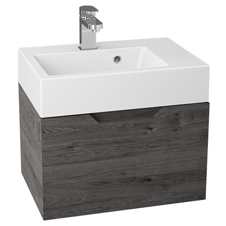 Vision 500 x 355mm Grey Oak Wall Mounted Sink Vanity Unit