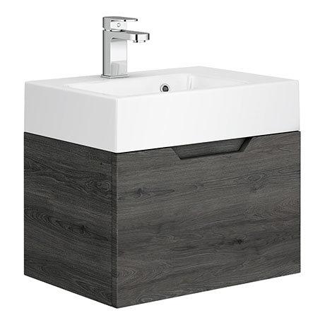 Vision 500 x 355mm Grey Oak Wall Mounted Sink Vanity Unit