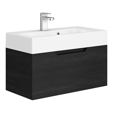 Vision 700 x 355mm Black Wood Wall Mounted Sink Vanity Unit