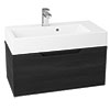 Vision 700 x 355mm Black Wood Wall Mounted Sink Vanity Unit Small Image