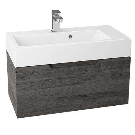 Vision 700 x 355mm Grey Oak Wall Mounted Sink Vanity Unit