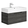 Vision 700 x 355mm Grey Oak Wall Mounted Sink Vanity Unit profile small image view 1