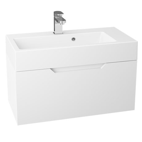 Vision 700 x 355mm Gloss White Wall Mounted Sink Vanity Unit