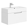 Vision 700 x 355mm Gloss White Wall Mounted Sink Vanity Unit profile small image view 1