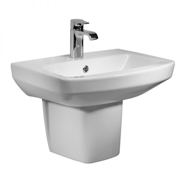 Tavistock Vibe 460mm Ceramic Basin & Semi-Pedestal profile large image view 1