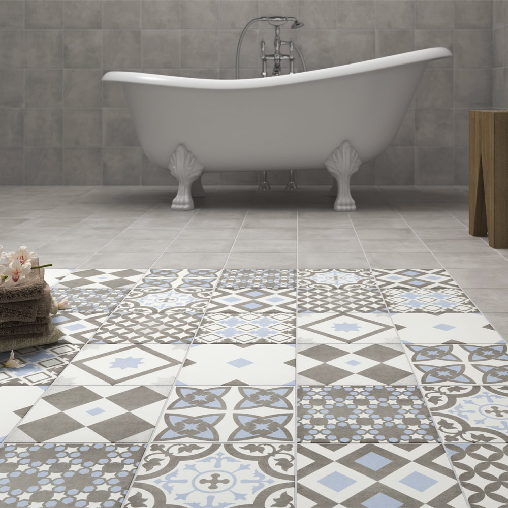 Vibe Light Blue & Grey Patterned Tiles | Why Do Patterned Tiles Work So Well In The Bathroom?