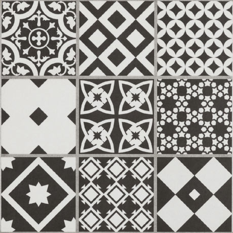 Vibe Black Mosaic Patterned Wall and Floor Tiles - 223 x 223mm