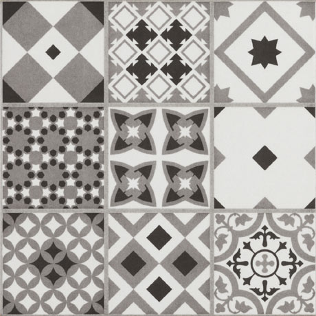 Vibe Grey Mosaic Patterned Wall and Floor Tiles - 223 x 223mm