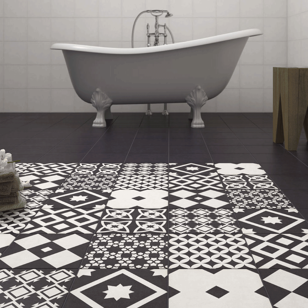Vibe Black Patterned Wall and Floor Tiles | Victorian Plumbing