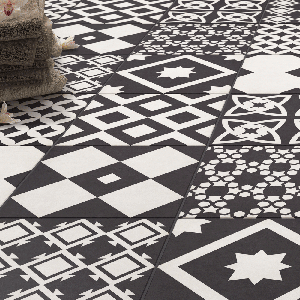 Vibe Black Patterned Wall and Floor Tiles - 223 x 223mm Large Image