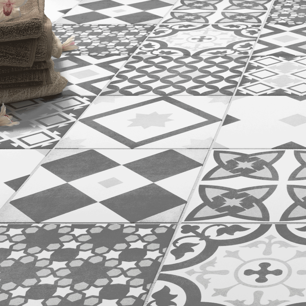 Small Floral Floor Tiles