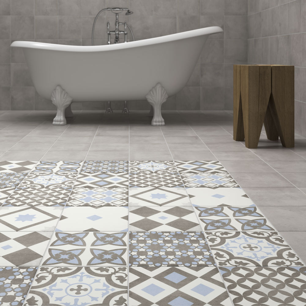 Shop the Vibe Light Blue Patterned Wall and Floor Tiles - 223 x ...