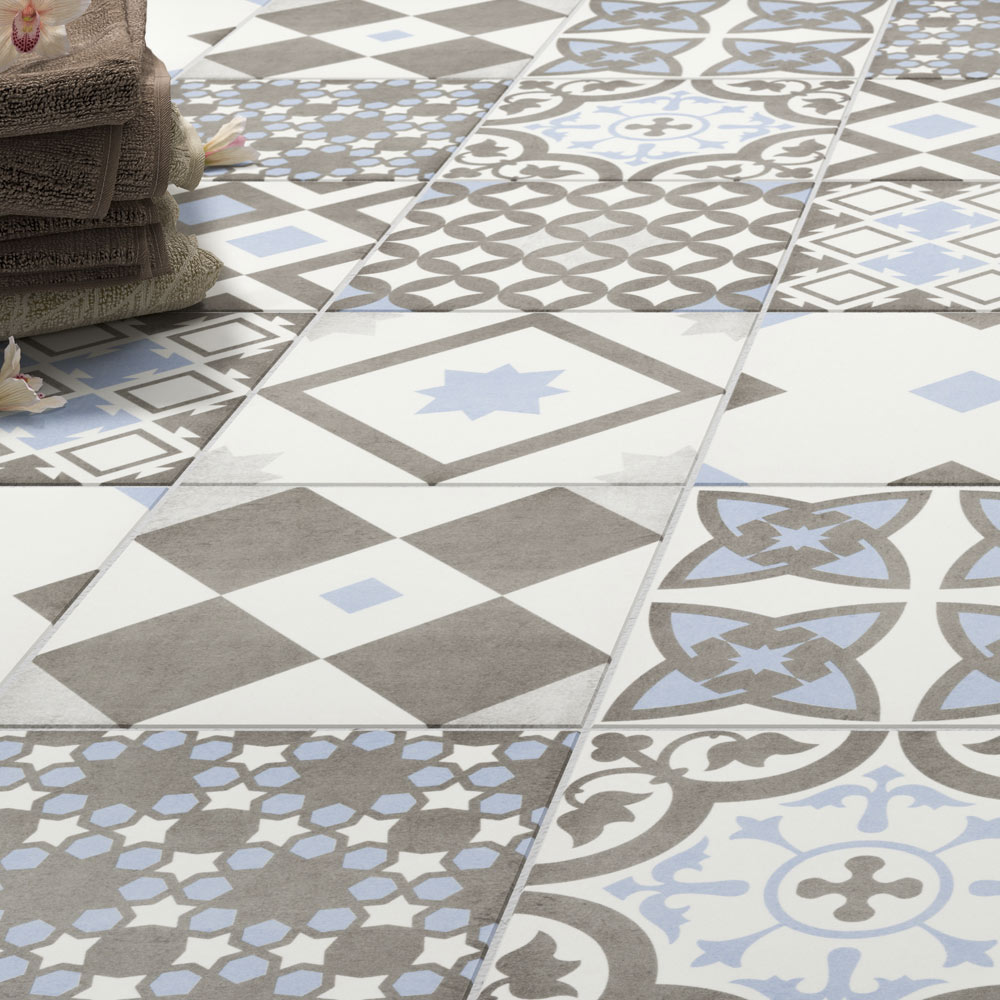 Shop The Vibe Light Blue Patterned Wall And Floor Tiles